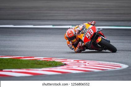 SEPANG, MALAYSIA - NOVEMBER 04, 2018 : Marc Marquez of Spain and Repsol Honda Team in action during MotoGP race of the Malaysian Motorcycle Grand Prix at Sepang International Circuit