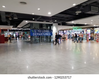 Sepang, Malaysia. November 11, 2018. Passengers walking around the airport terminal of KLIA2, the largest low cost terminal in the world with anticipated 25 millions passengers annually