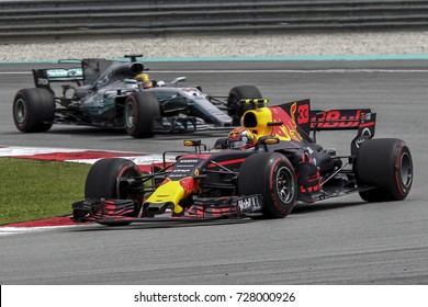 SEPANG, MALAYSIA - OCTOBER 0, 2017. Max Verstappen of Netherlands driving the Red Bull Racing Red Bull-TAG Heuer RB13 TAG Heuer on track during the Malaysia Formula One Grand Prix at Sepang Circuit.