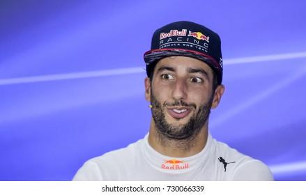 SEPANG, MALAYSIA : OCTOBER 01, 2017 : Daniel Ricciardo of Red Bull Racing talks in the post race press conference during the Malaysia Formula One (F1) Grand Prix at Sepang International Circuit (SIC).