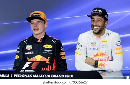 SEPANG, MALAYSIA : OCTOBER 01, 2017 : Daniel Ricciardo and Max Verstappen of Red Bull Racing during the Malaysia Formula One (F1) Grand Prix at Sepang International Circuit (SIC).