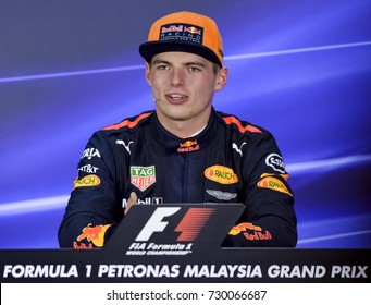 SEPANG, MALAYSIA : OCTOBER 01, 2017 : Max Verstappen of Red Bull Racing talks in the post race press conference during the Malaysia Formula One (F1) Grand Prix at Sepang International Circuit (SIC).