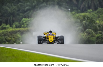 SEPANG, MALAYSIA : OCTOBER 01, 2017 : Renault Sport F1 Team on track during the Malaysia Formula One Grand Prix at Sepang International Circuit.