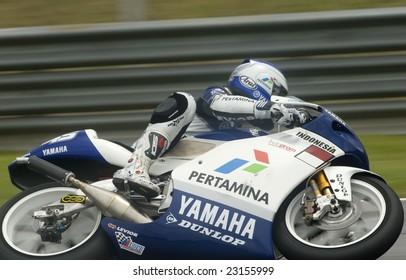 SEPANG, MALAYSIA - OCTOBER 17: 250cc Indonesian Doni Tata Pradita  of Yamaha Pertamina Indonesia at 2008 Polini Malaysian Motorcycle Grand Prix Sepang Circuit Malaysia on October 17, 2008.