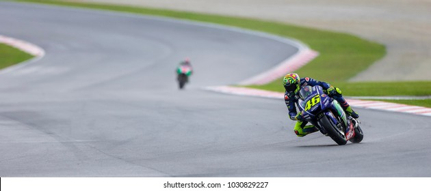 SEPANG, MALAYSIA - OCTOBER 27, 2017 : Valentino Rossi of Italy and Movistar Yamaha MotoGP (46) during the Malaysia Motorcycle Grand Prix (MotoGP) at Sepang International Circuit (SIC).