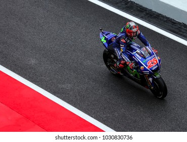 SEPANG, MALAYSIA - OCTOBER 27, 2017 : Maverick Vinales of Spain and Movistar Yamaha MotoGP (25) during the Malaysia Motorcycle Grand Prix (MotoGP) at Sepang International Circuit (SIC).