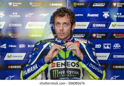 SEPANG, MALAYSIA - OCTOBER 28, 2016 :  Movistar Yamaha MotoGP rider, Valentino Rossi during free practice two Shell Malaysia Motorcycle Grand Prix (GP) 2016.