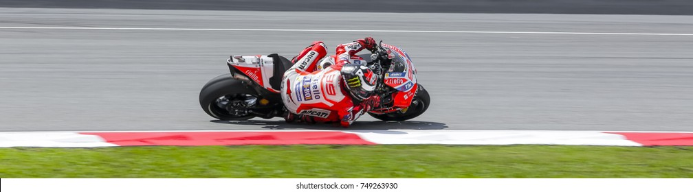 SEPANG, MALAYSIA - OCTOBER 28, 2017 : Jorge Lorenzo of Spain and Ducati Team (99) during the Malaysia Motorcycle Grand Prix (MotoGP) at Sepang International Circuit (SIC).