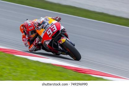 SEPANG, MALAYSIA - OCTOBER 28, 2017 : Marc Marquez of Spain and Repsol Honda Team (93) during the Malaysia Motorcycle Grand Prix (MotoGP) at Sepang International Circuit (SIC).