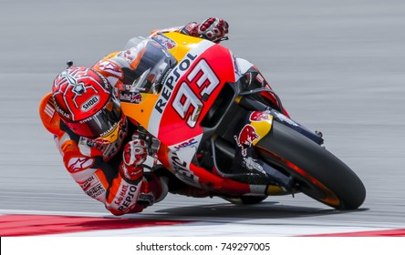 SEPANG, MALAYSIA - OCTOBER 28, 2017 : Marc Marquez of Spain and Repsol Honda Team (93) during the Malaysia Motorcycle Grand Prix (MotoGP) at Sepang International Circuit (SIC).
