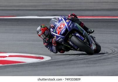SEPANG, MALAYSIA - OCTOBER 28, 2017 : Maverick Vinales of Spain and Movistar Yamaha MotoGP (25) during the Malaysia Motorcycle Grand Prix (MotoGP) at Sepang International Circuit (SIC).