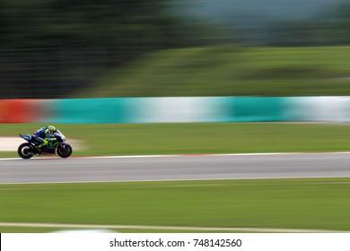 SEPANG - MALAYSIA, OCTOBER 29: Italian Yamaha rider Valentino Rossi at 2017 Shell MotoGP of Malaysia at Sepang circuit on October 29, 2017