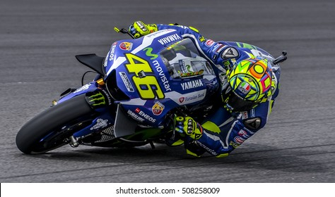 SEPANG, MALAYSIA - OCTOBER 30, 2016 : Movistar Yamaha MotoGP rider, Valentino Rossi during Shell Malaysia Motorcycle Grand Prix (GP) 2016.