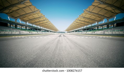 SEPANG, MALAYSIA - SEPTEMBER 1, 2012: Panoramic of racing track with both side grandstands , empty background