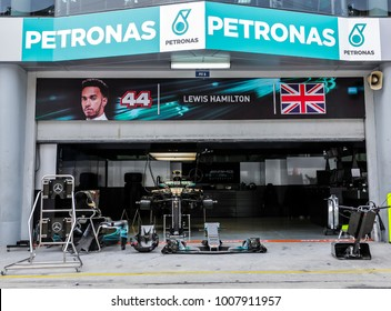 SEPANG, MALAYSIA - SEPTEMBER 28, 2017 : Garage of Mercedes AMG Petronas driver, Lewis Hamilton during Malaysia Formula One (F1) Grand Prix at Sepang International Circuit.