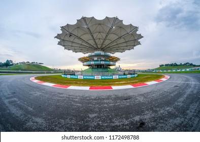 SEPANG, MALAYSIA - SEPTEMBER 29, 2017 : Race track of Sepang International Circuit (SIC) Malaysia. Venue for the major motorsport events.