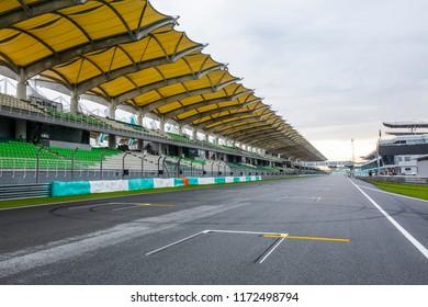 SEPANG, MALAYSIA -  SEPTEMBER 29, 2017 : Starting grid at Sepang International Circuit (SIC) Malaysia. Venue for the major motorsport events.