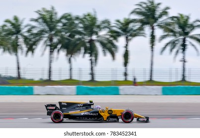 SEPANG, MALAYSIA - SEPTEMBER 29, 2017 : Jolyon Palmer of Great Britain driving the (30) Renault on track during the Malaysia Formula One (F1) Grand Prix at Sepang International Circuit.
