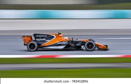 SEPANG, MALAYSIA - SEPTEMBER 29, 2017 : Stoffel Vandoorne of Belgium driving the (2) McLaren Honda on track during the Malaysia Formula One (F1) Grand Prix at Sepang International Circuit.