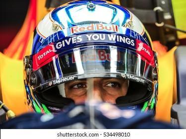 SEPANG, MALAYSIA - SEPTEMBER 30, 2016 : Redbull Racing's Daniel Ricciardo during the free practice of 2016 FORMULA 1 Petronas Malaysia Grand Prix at Sepang International Circuit