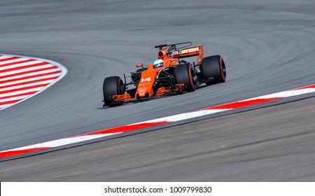 SEPANG, MALAYSIA - SEPTEMBER 30, 2017 : Fernando Alonso of Spain driving the (14) McLaren Honda Formula 1 Team on track during the Malaysia Formula One (F1) Grand Prix at Sepang International Circuit.