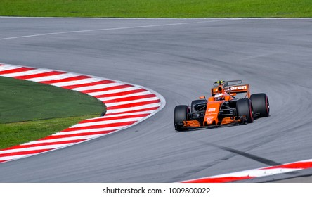 SEPANG, MALAYSIA - SEPTEMBER 30, 2017 : Stoffel Vandoorne of Belgium driving the (2) McLaren Honda on track during the Malaysia Formula One (F1) Grand Prix at Sepang International Circuit.