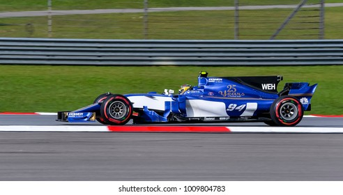 SEPANG, MALAYSIA - SEPTEMBER 30, 2017 : Pascal Wehrlein of Germany driving the (94) Sauber F1 Team on track during the Malaysia Formula One (F1) Grand Prix at Sepang International Circuit.