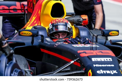 SEPANG, MALAYSIA : SEPTEMBER 30, 2017 : Max Verstappen of Red Bull Racing prepares to drive in the garage before the Malaysia Formula One (F1) Grand Prix at Sepang International Circuit (SIC).