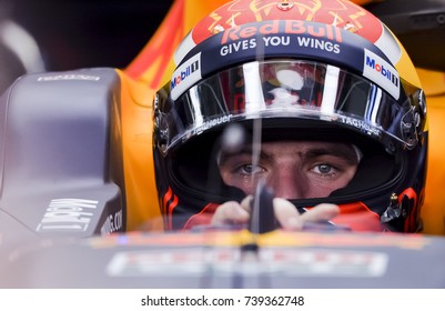 SEPANG, MALAYSIA : SEPTEMBER 30, 2017 : Max Verstappen of Red Bull Racing prepares to drive in the garage during practice for the Malaysia Formula One (F1) Grand Prix at Sepang International Circuit.