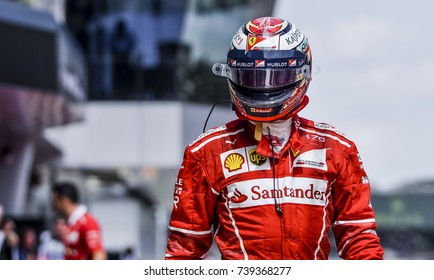 SEPANG, MALAYSIA : SEPTEMBER 30, 2017 : Kimi Raikkonen of Finland and Scuderia Ferrari during the practice session of the Malaysia Formula One (F1) Grand Prix at Sepang International Circuit (SIC).