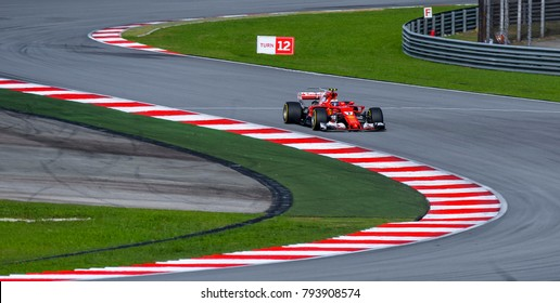 SEPANG, MALAYSIA - SEPTEMBER 30, 2017 : Kimi Raikkonen of Finland driving the (7) Scuderia Ferrari on track during the Malaysia Formula One (F1) Grand Prix at Sepang International Circuit (SIC).