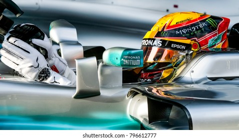 SEPANG, MALAYSIA - SEPTEMBER 30, 2017 : Lewis Hamilton of Great Britain and Mercedes AMG Petronas during the Malaysia Formula One (F1) Grand Prix at Sepang International Circuit.