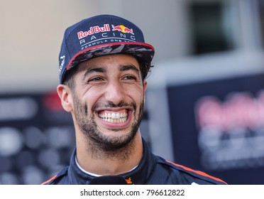 SEPANG, MALAYSIA - SEPTEMBER 30, 2017 : Daniel Ricciardo of Australia and Red Bull Racing during the Malaysia Formula One (F1) Grand Prix at Sepang International Circuit (SIC).