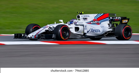 SEPANG, MALAYSIA - SEPTEMBER 30, 2017 : Lance Stroll of Canada driving the (18) Williams Martini Racing on track during the Malaysia Formula One (F1) Grand Prix at Sepang International Circuit.