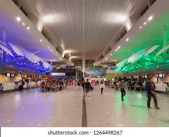 Sepang, Selangor. November 1, 2018. Check-in counters of Kuala Lumpur International Airport 2 (KLIA2), the world largest airport for budget airlines, located 2 km away form the main KLIA terminal
