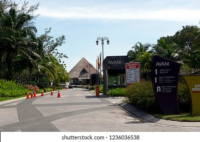 Sepang, Selangor,Malaysia- July 29,2018 : Main entrance gate to AVANI Sepang Goldcoast Resort located in the district of Sepang, in the  state of Selangor, Malaysia.