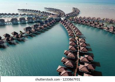 Sepang, Selangor,Malaysia- November 18,2018 : Ariel view of AVANI Sepang Goldcoast Resort located in the district of Sepang, in the  state of Selangor, Malaysia.