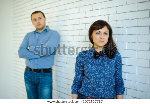 Separated Couple Love On White Brick Stock Photo (Edit Now