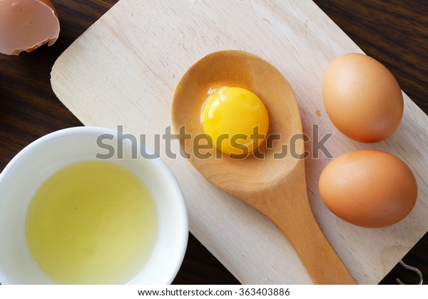 separated egg white and yolk