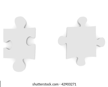 separated puzzle pieces isolated over white