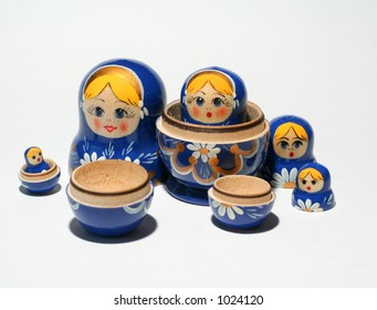 Separated Russian dolls