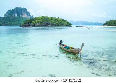 The Separated Sea (Thale Waek) Krabi,Thailand . It happens when there is a low tide and a unique sand pathway connects three islands (Koh Gai, Koh Tup and Koh Mawr) that visitors can walk to