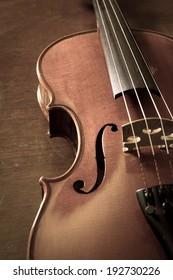 Sepia color of wood violin.