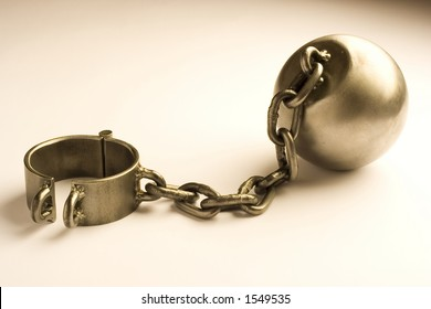 sepia colored ball and chain