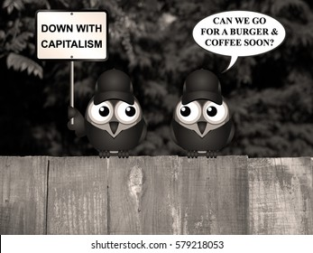 Sepia comical anti capitalism protestors demonstrating perched on a tree branch