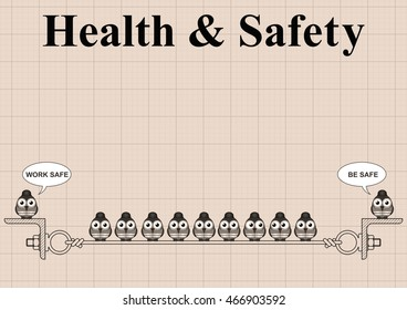 Sepia construction manufacturing and engineering health and safety with work safe be safe message on graph paper background with copy space for own text