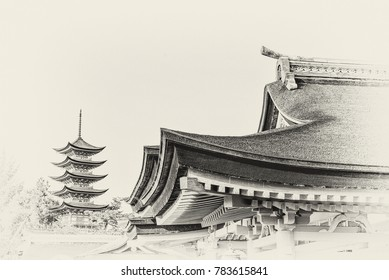 Sepia monochrome filtered view of the cedar roof and eaves of the Shinto shrine at Miyajima near Hiroshima, Japan with a pagoda in the background and some negative space.