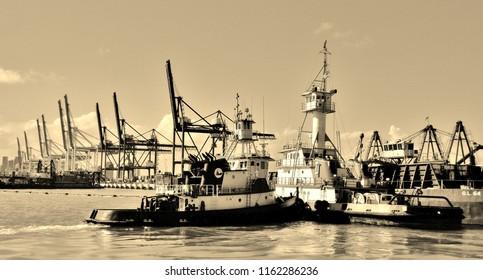 Sepia Photograph of Tug Boats in the Port of Miami -  Miami, Florida (USA)