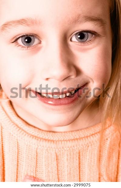 Sepia portrait of a little girl