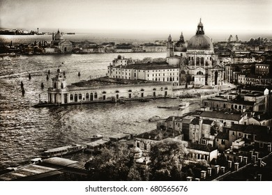 Sepia shot of Venice, Italy